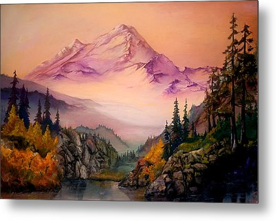 Metal Print featuring the painting Mount Baker Morning by Sherry Shipley