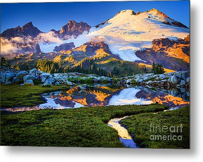 Mount Baker Reflection Metal Print by Inge Johnsson