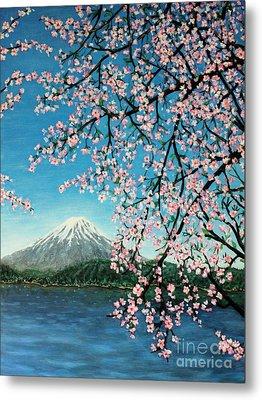 Mount Fuji Cherry Blossoms Metal Print by Sheena Kohlmeyer