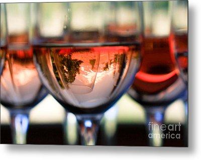 Mount Hood In A Wine Glass Metal Print by Cari Gesch