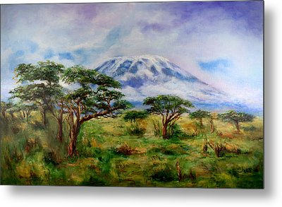 Metal Print featuring the painting Mount Kilimanjaro Tanzania by Sher Nasser