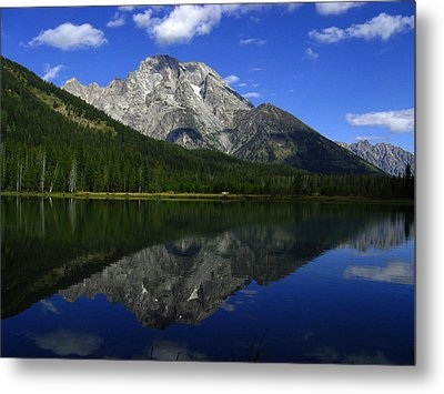 Mount Moran And String Lake Metal Print by Raymond Salani III