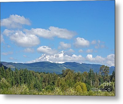 Mount Rainier As Viewed From The West Metal Print by Connie Fox