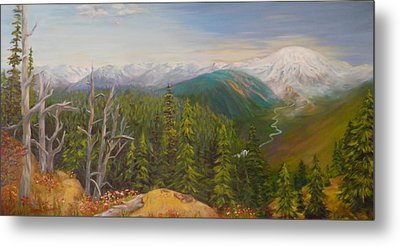 Mount Rainier  Early Morning Cascades Washington Metal Print