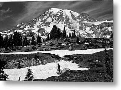 Mount Rainier From The Paradise Visitor Center Metal Print by Bob Noble