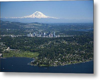 Mount Rainier, Lake Washington Metal Print by Andrew Buchanan/SLP