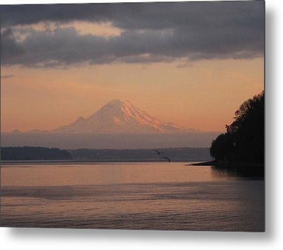 Metal Print featuring the photograph Mount Rainier Sunset by Karen Molenaar Terrell