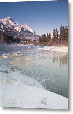 Mount Rundle And Creek In Winter  Metal Print