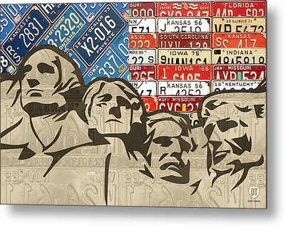 Mount Rushmore Monument Vintage Recycled License Plate Art Metal Print