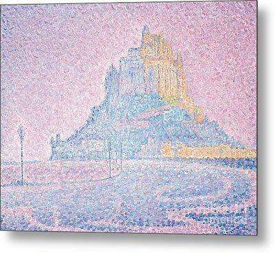 Mount Saint Michel Fog And Sun Metal Print by Paul Signac