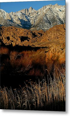 Mount Whitney From The Alabama Hills In California Metal Print