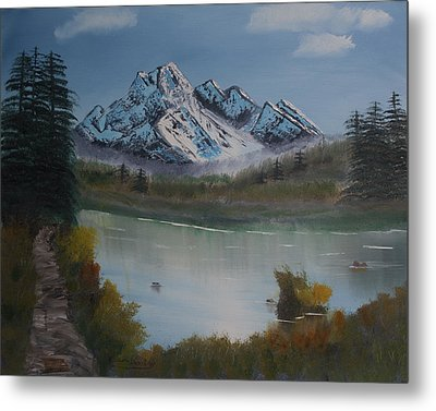 Metal Print featuring the painting Mountain And River by Ian Donley