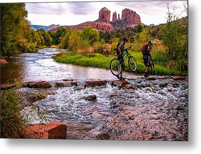 Mountain Bikers Crossing Cathedral Falls Metal Print by Linda Pulvermacher