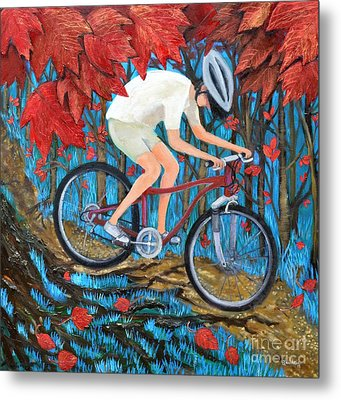 Mountain Biking Metal Print