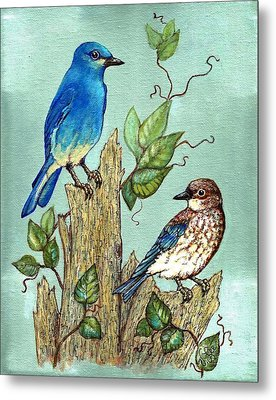 Metal Print featuring the painting Mountain Bluebirds by VLee Watson