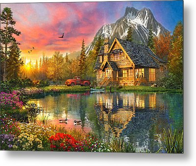 Mountain Cabin Metal Print by Dominic Davison
