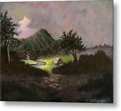 Mountain Cabin Metal Print by Janet Greer Sammons