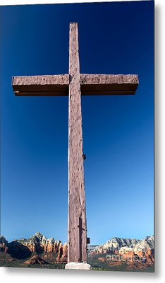 Mountain Cross Metal Print