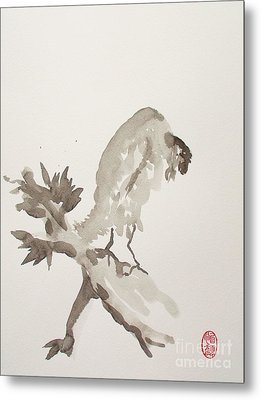 Mountain Cuckoo Eating A Worm Metal Print by Pg Reproductions