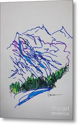 Mountain Drawing In Ink Metal Print by Lisa Carroccio