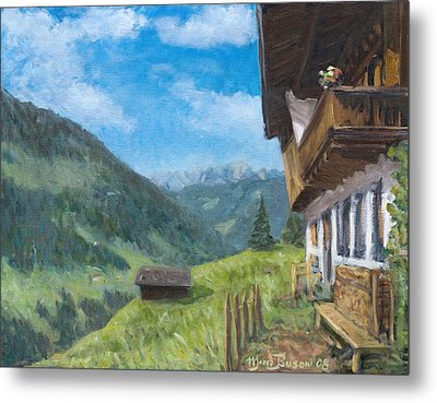 Mountain Farm In Austria Metal Print by Marco Busoni