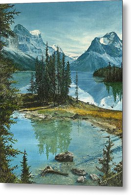 Metal Print featuring the painting Mountain Island Sanctuary by Mary Ellen Anderson