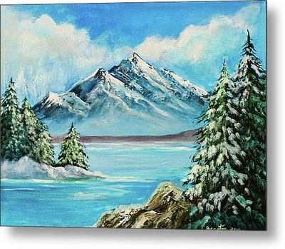 Metal Print featuring the painting Mountain Lake In Winter Original Painting Forsale by Bob and Nadine Johnston