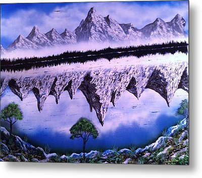 Metal Print featuring the painting Mountain Lake by Michael Rucker
