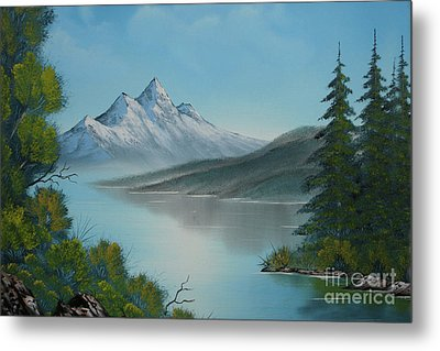 Mountain Lake Painting A La Bob Ross Metal Print by Bruno Santoro