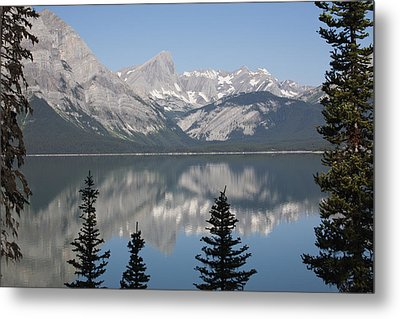 Mountain Lake Reflecting Mountain Range Metal Print by Michael Interisano