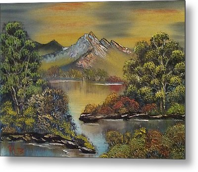 Mountain Lake Reflections Metal Print by Lee Bowman