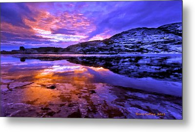 Metal Print featuring the painting Mountain Lake Sunset by Bruce Nutting