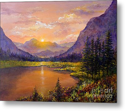 Metal Print featuring the painting Mountain Lake Sunset by Lou Ann Bagnall