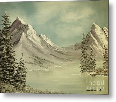 Mountain Lake Winter Scene Metal Print