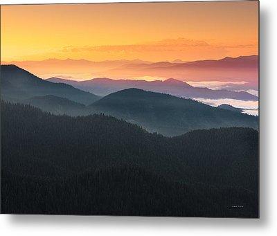 Mountain Layers Sunrise Metal Print