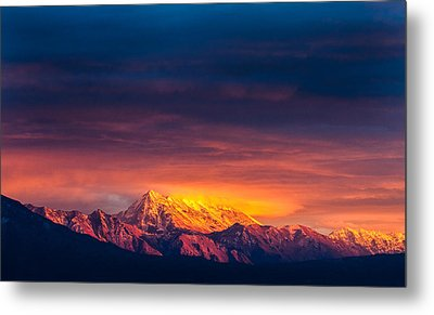 Mountain On Fire Metal Print by Peter Irwindale