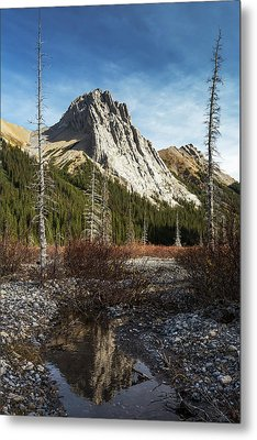 Mountain Peak Reflecting In Still Rocky Metal Print