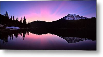 Mountain Rainier Reflection Lake Metal Print by Emmanuel Panagiotakis