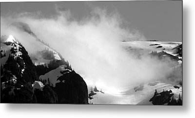 Mountain Range Black And White Three Metal Print by Diane Rada