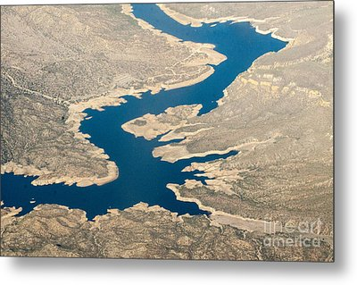 Mountain River From The Air Metal Print by Darleen Stry