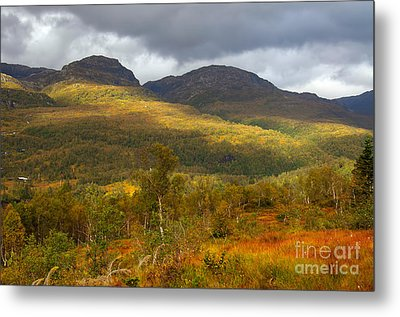 Mountain Scenery In Fall Metal Print by Gry Thunes
