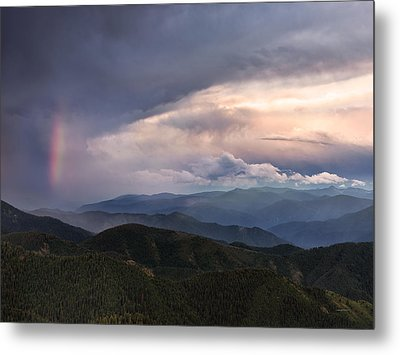 Mountain Storm And Rainbow Metal Print by Leland D Howard