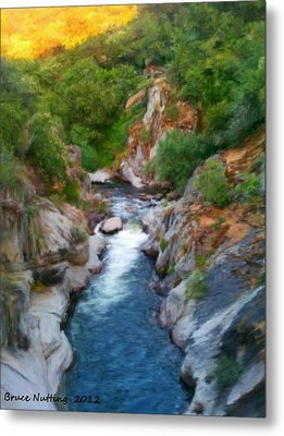 Metal Print featuring the painting Mountain Stream by Bruce Nutting