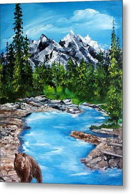 Metal Print featuring the painting Mountain Stream  by Ellen Canfield