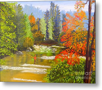 Metal Print featuring the painting Mountain Stream by Pamela  Meredith