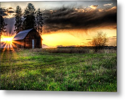 Mountain Sun Behind Barn Metal Print by Derek Haller