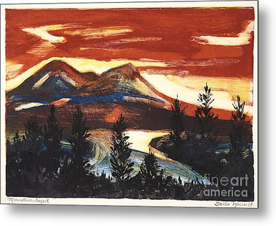 Mountain Sunset Metal Print by Stella Sherman