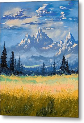 Metal Print featuring the painting Mountain Valley by Richard Faulkner