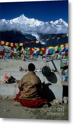 Mountain Worship In The Himalaya Metal Print by James Brunker