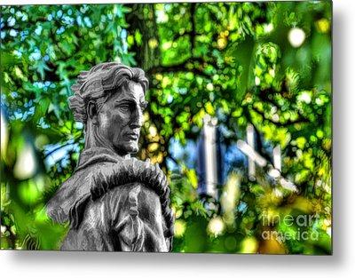 Mountaineer Statue In Trees Metal Print by Dan Friend